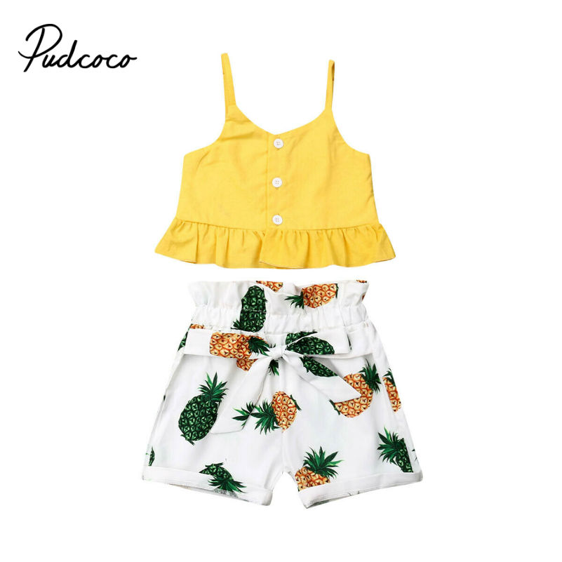 Summer Baby Girls Clothes 2019 Brand New Fine Strap Pineapple Bow-knot Belt Girls' Clothing Sets Tops+Shorts 6M-5Y 80-120