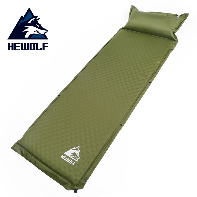 HEWOLF Outdoor 188*65*5cm Single Automatic Inflatable Cushion Pad Thickening Bed Mattress Camping Tent Lunch Leisure Mat Luggage & Bags cb5feb1b7314637725a2e7: Army green|Red
