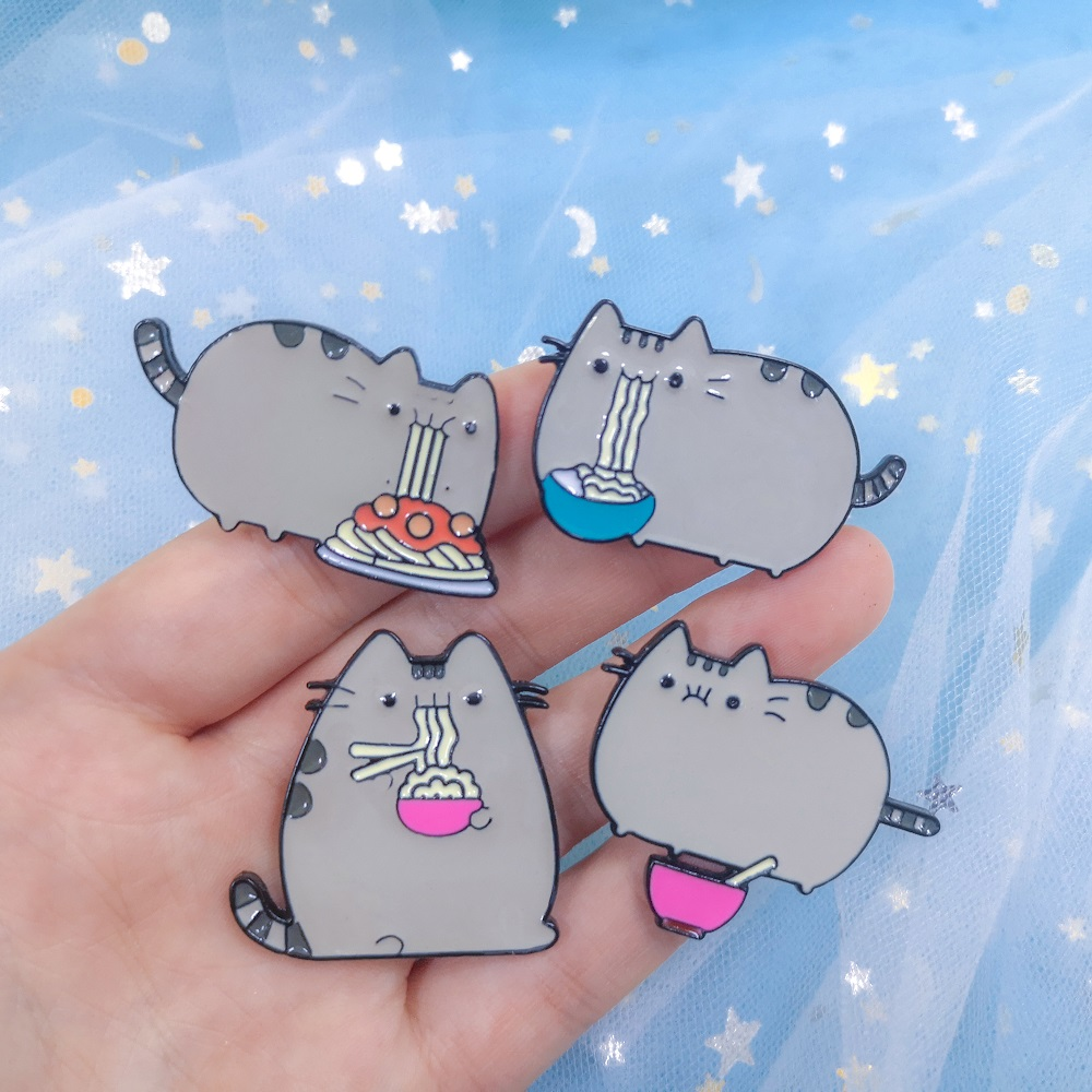Cartoon Cute Hungry Noodles <font><b>Cat</b></font> Animal Kitty Enamel Pin Button Metal Badge Backpack <font><b>Shirt</b></font> Jackets Callor Lapel Pins Jewelry Gift image