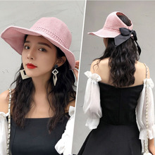 Foldable Beach Hat Women's Summer Holiday Outings Sunscreen Beach Hats Handwoven Butterfly-knotted Sports Straw Cap cool summer knotted rope casual holiday travelling sunscreen sun hat for women