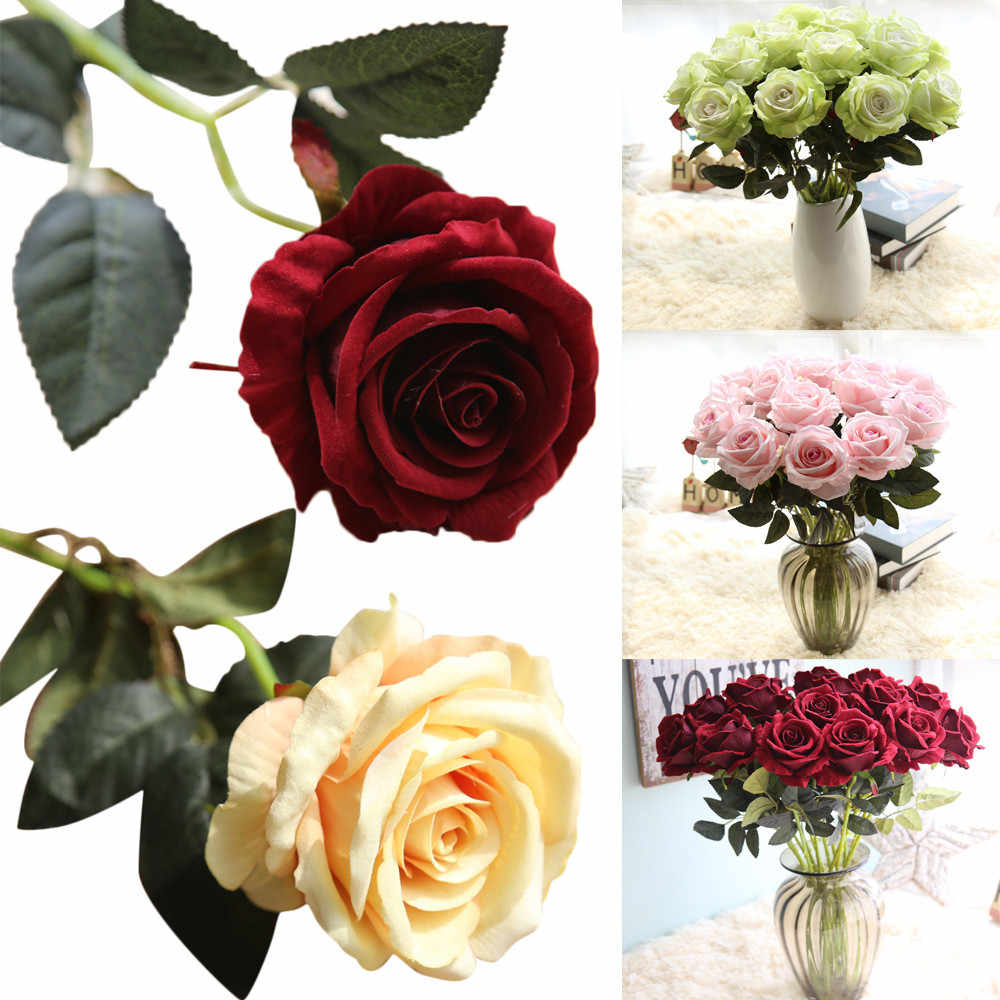 Decorativas Falsos Buquês de flores Artificiais Rosas Falsificadas Flanela Flor Nupcial Wedding Party Bouquet Home Decor USPS # N05