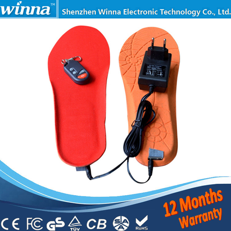 Electric Heated Insole Winter Shoes Boots Pad With Remote Control RED Foam Material EUR Size 35