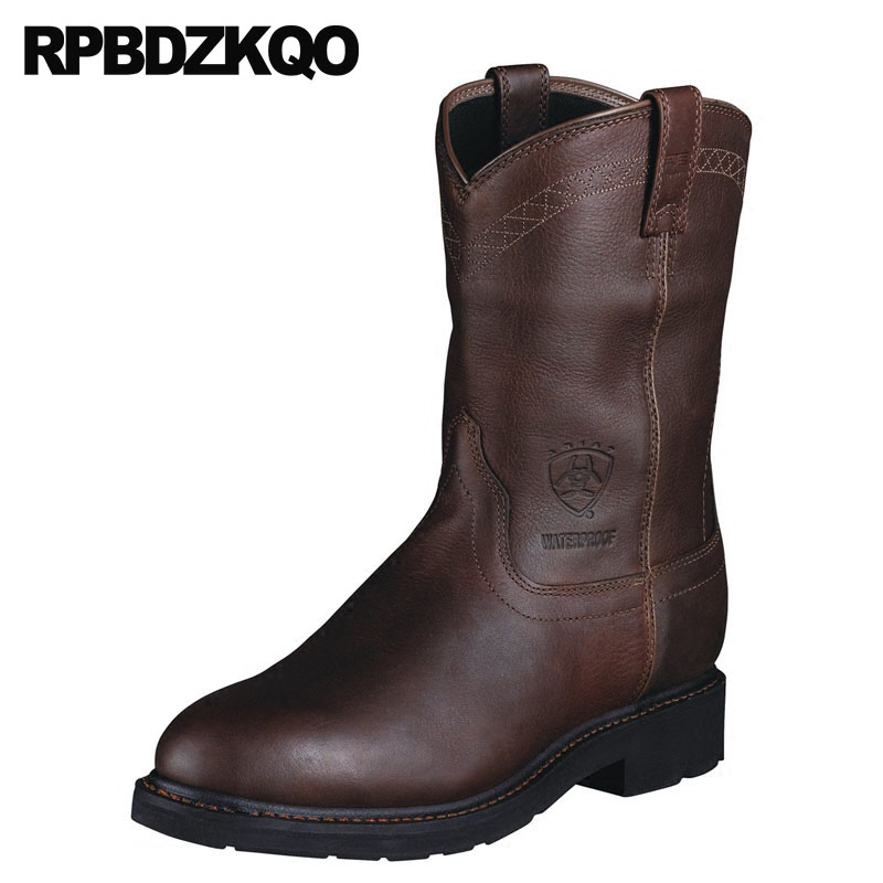 Autumn Brown Slip On Full Grain Leather Chunky Tall Footwear Boots Plus Size Designer Shoes Men High Quality Mid Calf Vintage