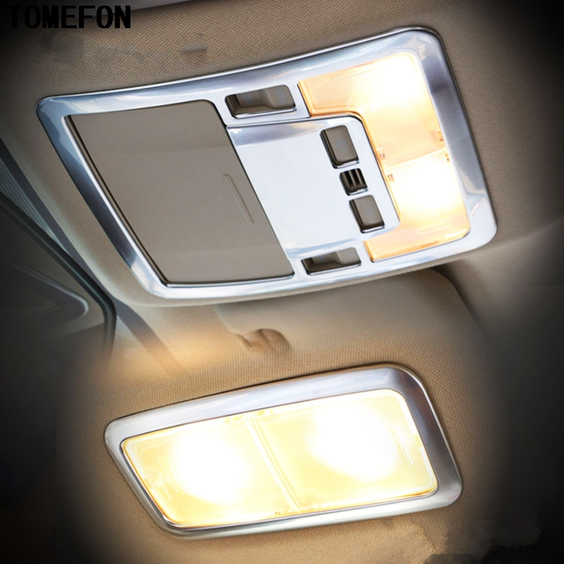 For Toyota Corolla (E170) 2014 2015 ABS Chrome Matte Car Inner Front+Rear Reading Light Trim Interior Car Accessories 3PCS
