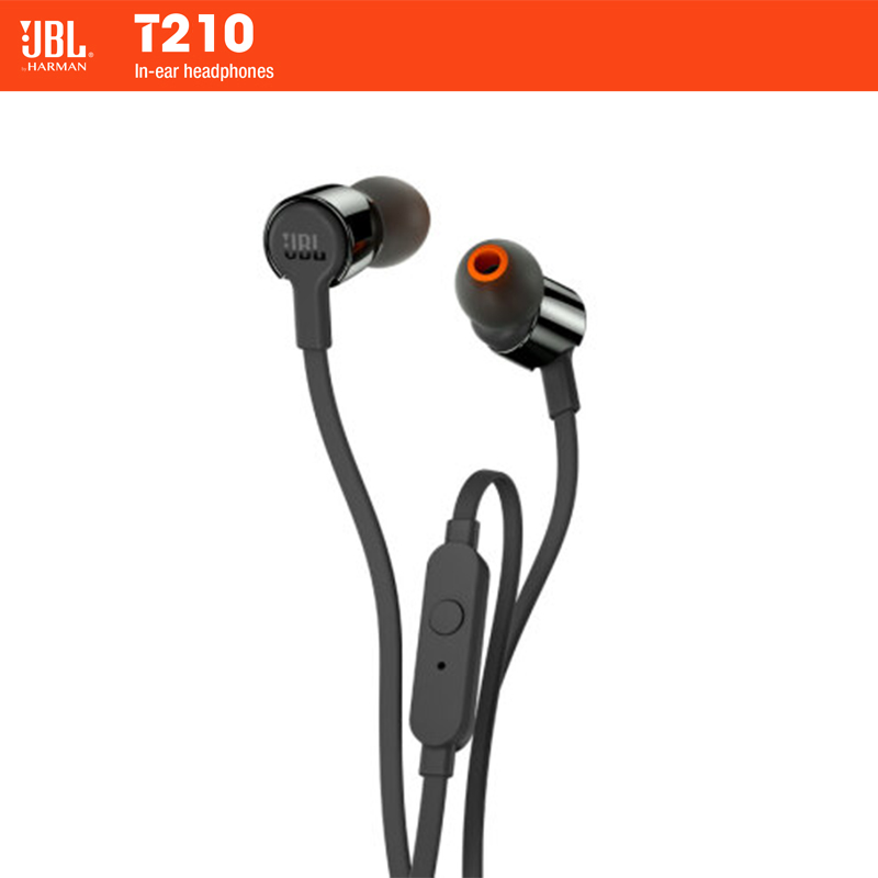 JBL T210 In ear Earphones 1 Button Remote With Microphon Sport Run Music Pure Bass Sound Headset For iPhone Smartphone Portable