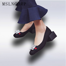Plus size 34-48 rhinestone women pumps square heel round toe high heeled Crystal woman shoes fashion Girls Sweet Casual shoes