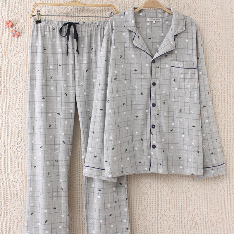 2019 Spring New Men's Pajama Set Long Sleeve Nightgown Turn-down Collar Plaid Pajama Mansleepwear Pajamas Men Pijama Set Pyjamas