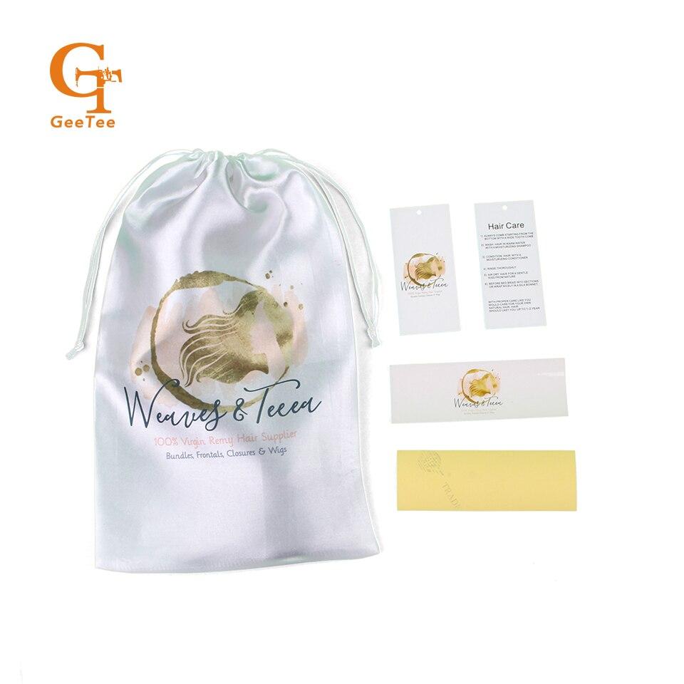 사용자 정의 브랜드 이름 로고 인간의 버진 헤어 확장 번들 포장 새틴 가방, 자기 접착제 포장 스티커, 스윙 교수형 태그-에서선물가방&포장용품부터 홈 & 가든 의  그룹 1