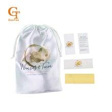 Özel marka adı logo İnsan Virgin saç ekleme demetleri ambalaj saten çanta, kendinden yapışkanlı sarma çıkartmalar, salıncak askılı etiketler