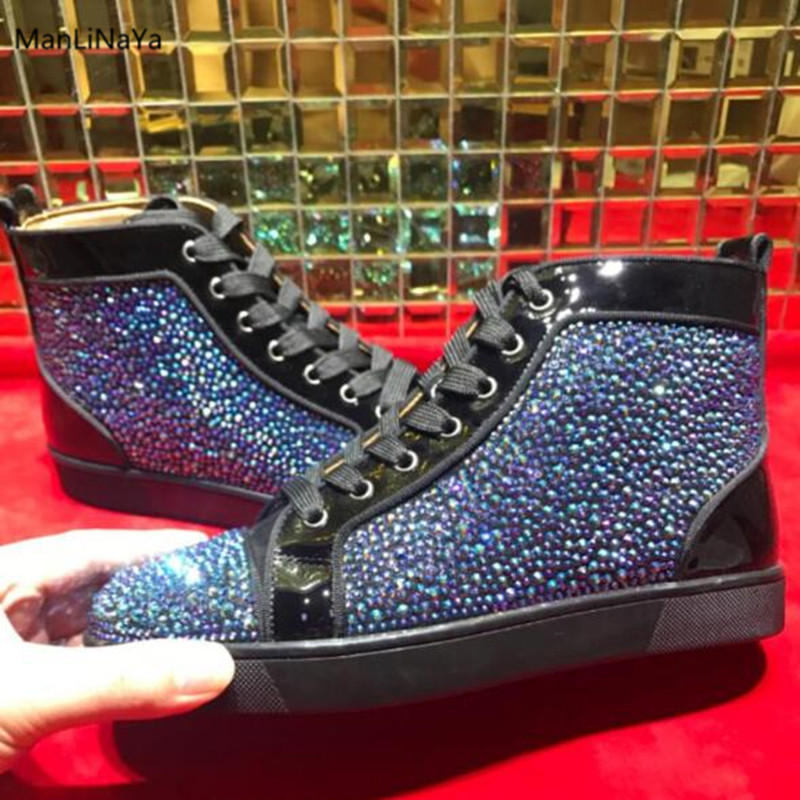 be3bb2a9ff HOT SALE] Leather Autumn and Winter Crystal High Ribbon Couple Shoes ...