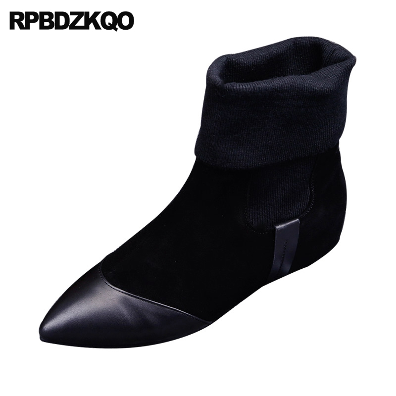 Suede Booties Pointed Toe Slip On Black Fur Stretch Women Boots Winter 2017 Shoes Chelsea Flat Vintage Warm Ankle Chinese front lace up casual ankle boots autumn vintage brown new booties flat genuine leather suede shoes round toe fall female fashion