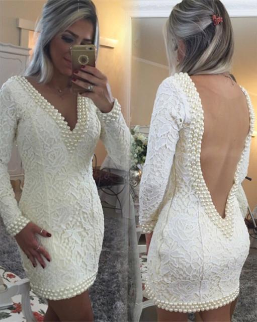 Custom Made vestidos curtos Prom 2016 nova manga comprida V Neck Lace branco pérolas vestidos de festa