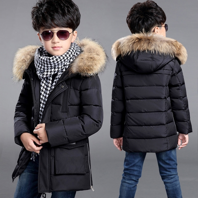 & 2017 boy down jacket coat long thick coat large child down jacket winter boy down jacket