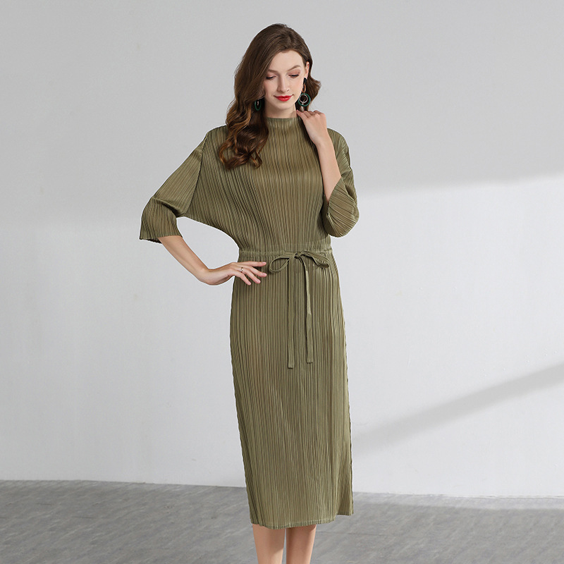 LANMREM High Quality 2019 Summer New Pattern Pleat Clothes For Women Drawstring Waist Three Quarter sleeve