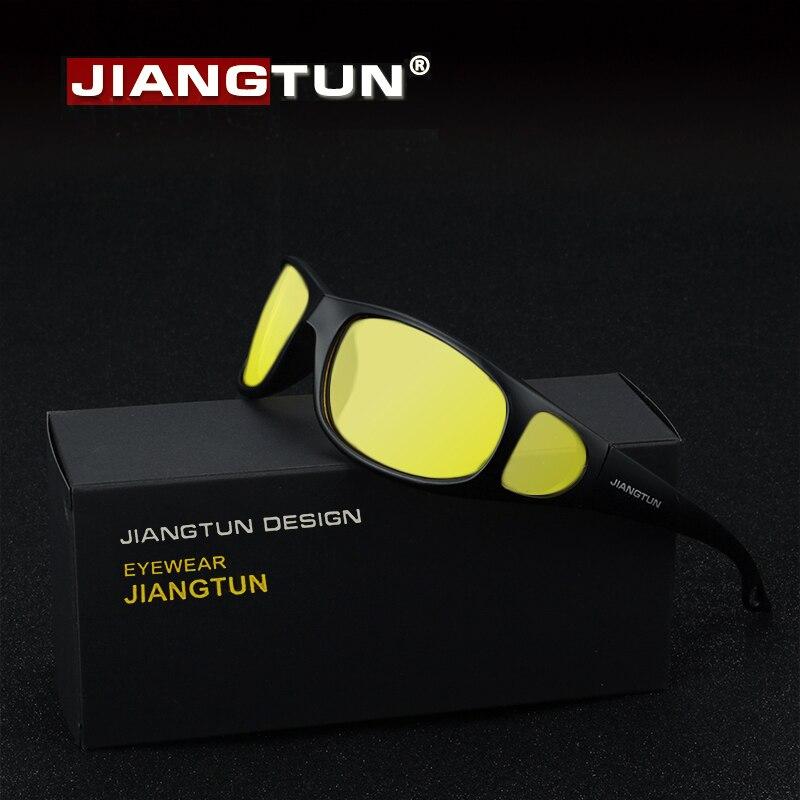 73d316970f JIANGTUN HD gafas de visión nocturna gafas de sol polarizadas 2019 nuevo  diseñador de marca amarillo noche conducción Gelbe Nachtfahr Brill