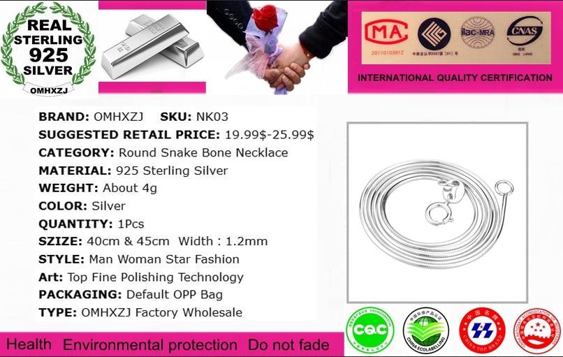 OMHXZJ Topdan Moda Qadın 16 və 18 düym 1.2mm Platinum 925 Sterling - Gözəl zərgərlik - Fotoqrafiya 2