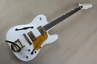 F Natural Wood Bigsby Big Rocker Chrome Hardware Telecaster Semi Hollow Body F Hole Jazz Electric Guitar