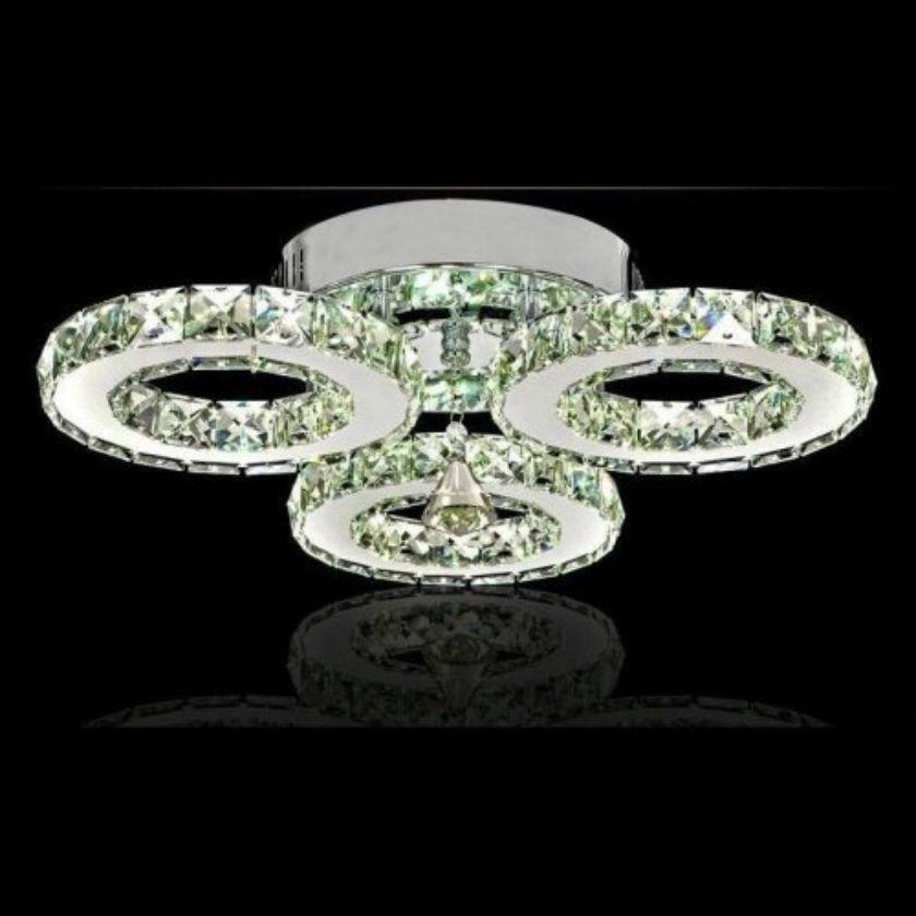 Chandelier With 3 Lights Led Crystal Flush Mount