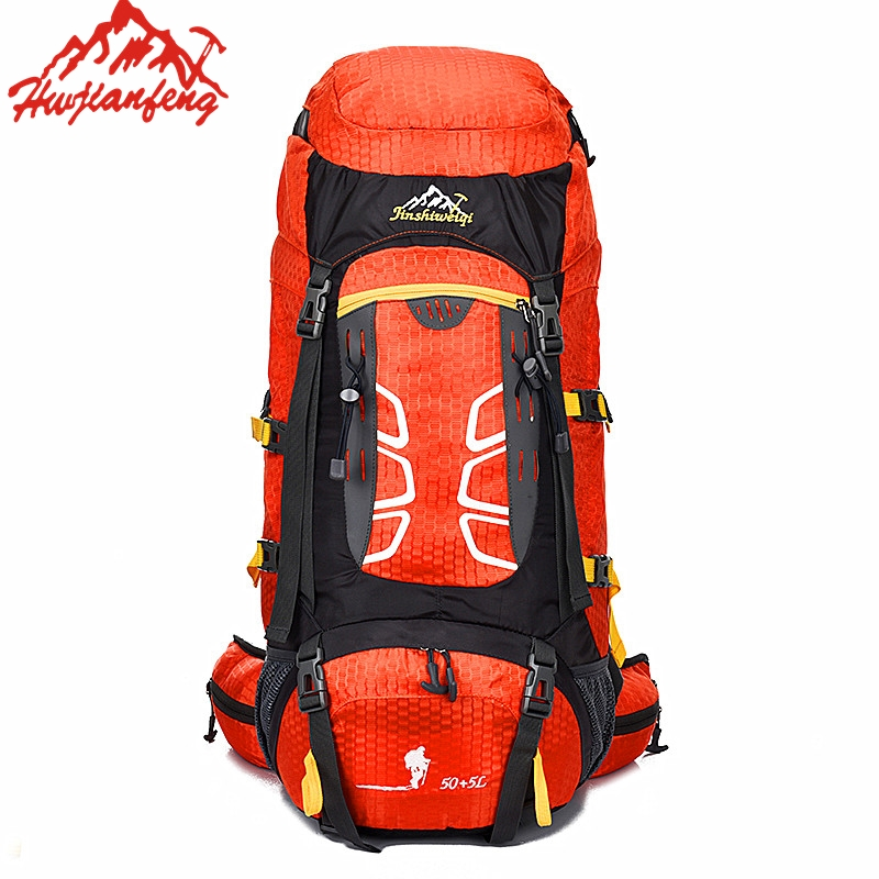 50+5L Large Waterproof Nylon Travel Climbing Hiking Bag  Rucksack Men Women Fishing Bag Outdoor Sport Backpack With Rain Cover lemochic high quality sport mountaineer travel male bag waterproof canvas motorcycle climbing rucksack fishing hunting backpack