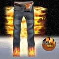 Зима Толстые Теплые Бархатные Джинсы Мужчины Большой размер Прямые Глубокий цвет Денима брюки Новый мужской Супертяжелом Джинсы Размер 40