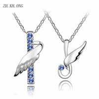 ZH KH ONG 2017 Fashion Austrian Crystal Couple Necklace Fly Angel Zircon Pendant Necklace For Couple