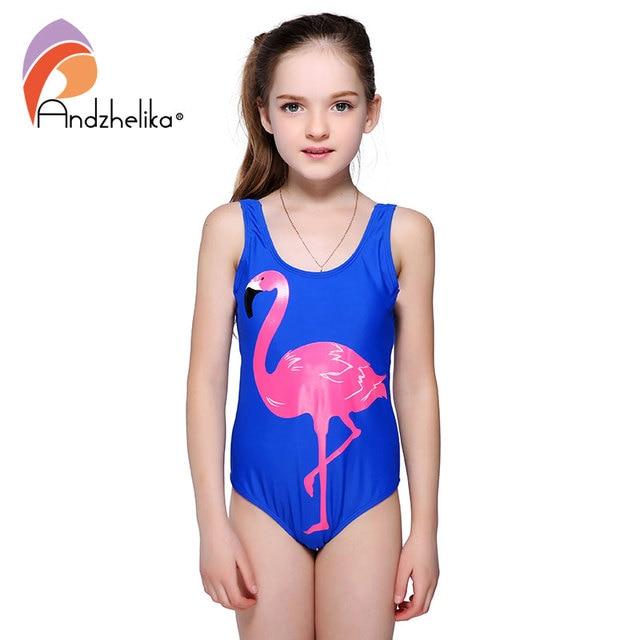 Andzhelika Girls One Piece Swimsuit 2018 New Animal Print Cartoon Bird  Swimwear Sports Girls Bodysuit Swim Suits Bathing Suit 4435c0e8f1c4