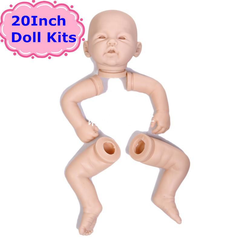 NPK 20'' Vinyl Silicone Reborn Baby Doll Kits Play Doll Accessories Realistic Dolls Vinyl Blank Kit With 3/4 Arms and 4/4 Legs reborn baby doll kit diy a lifelike 26 28 doll reborn silicone vinyl toddler doll kits head arms legs