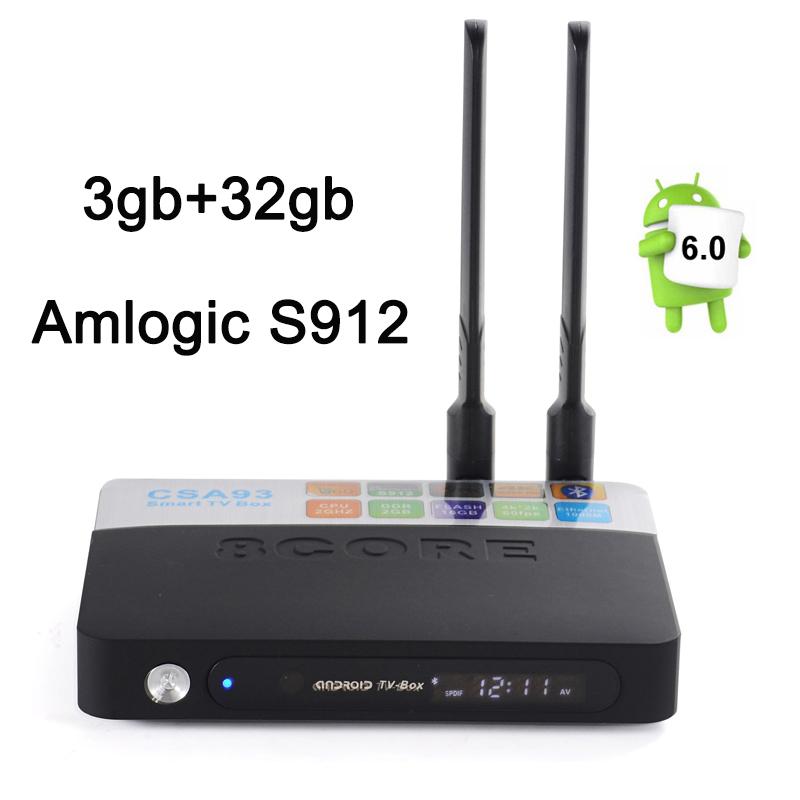 Prix pour Date Amlogic S912 Android TV BOX CSA93 3 GB 32 GB lecteur Multimédia 2.4G & 5.8G Double wifi BT4.0 Gigabit Lan Android 6.0 4 k smart tv boîte