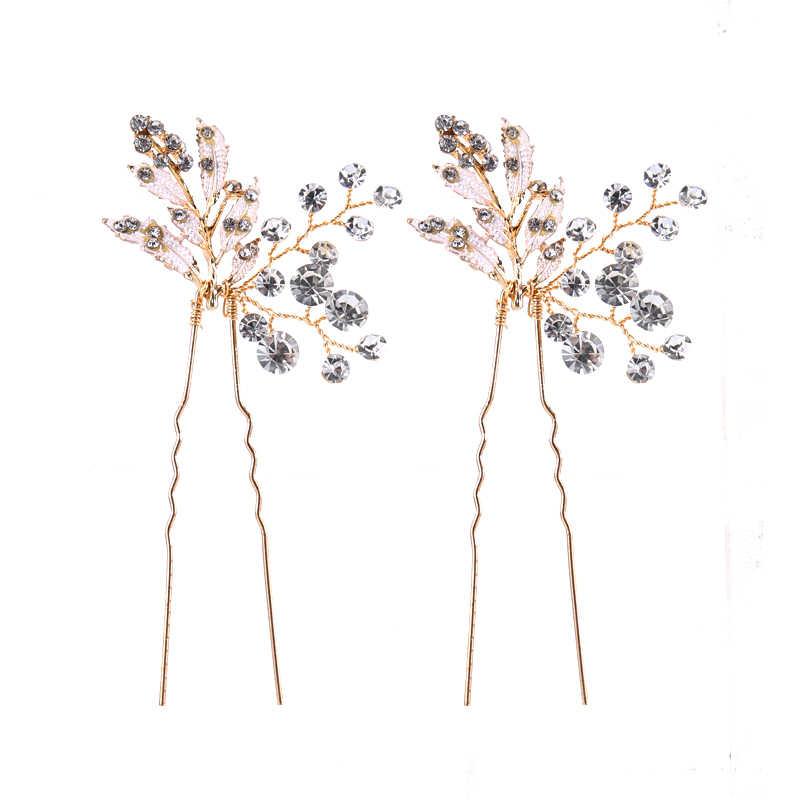 Moda 1PC złoto srebrne wesele akcesoria do włosów perła Rhinestone spinki do włosów spinki do włosów dla nowożeńców druhna kobiety biżuteria do włosów Party