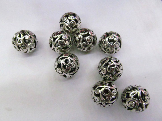 50pcs 8 12mm Antique Silver Filigree Link Connector Brass Spacer Round Carved Jewelry Finding