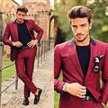 Wine Red Peaked Lapel Men Suits Latest Coat Pant Designs Custom Made Homme Fashion Tuxedos Slim Fit Terno New(Jacket+Pants)