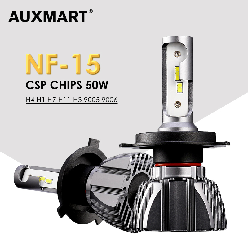 Auxmart NF15 Series Hi-Lo Beam H4 LED Headlight for Car 6500K Led H7 Front Bulbs H11 Led 9005 9006 Car Headlamps 12v 50W Fanless