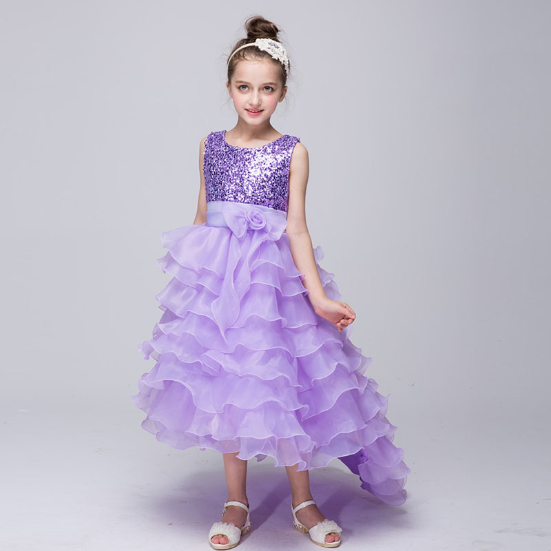 Flower Girl Dresses 3-12Y Cascaded First Holy Communion Dresses for Girls Royal Blue Pageant Gowns Sleeveless Ball Gown Kid Dres