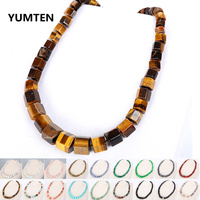 Multi color Natural Gemstone Hexagonal Beaded Necklace Male Tiger Eye Stone Opal Necklace Jewelry Amber Wholesale Lots Bulk