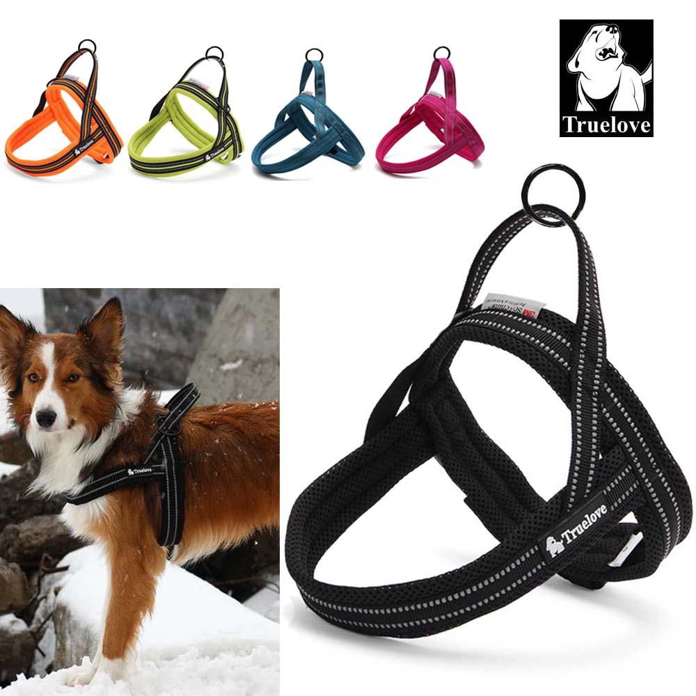 Truelove Soft Mesh Padded Nylon Dog Harness Vest Reflective Security Dog Collar Easy Put On Pet Harness 24% Discount 5 Color
