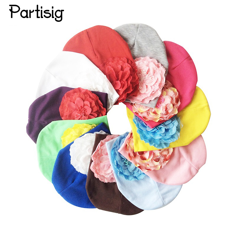 Partisig Brand Baby Girls Hat Bomull Strikk Blommig Beanie For Girls Vårhöst Caps With Big Flower Winter Children's Hats