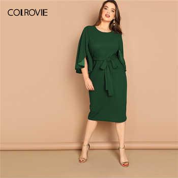 COLROVIE Plus Size Green Solid Split Bell Sleeve Pencil Dress With Belt Women Clothing 2019 Summer Korean Elegant Midi Dresses - DISCOUNT ITEM  40% OFF Women\'s Clothing