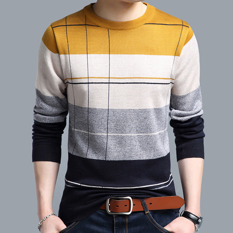 2018 brand social cotton thin men's pullover sweaters casual crocheted striped knitted sweater men masculino jersey clothes 5066 5