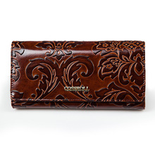 New Fashion Genuine Leather Women Wallet Vintage Flower Printed Ostrich Wallets Ladies Long Clutches With Coin Purse Card Holder