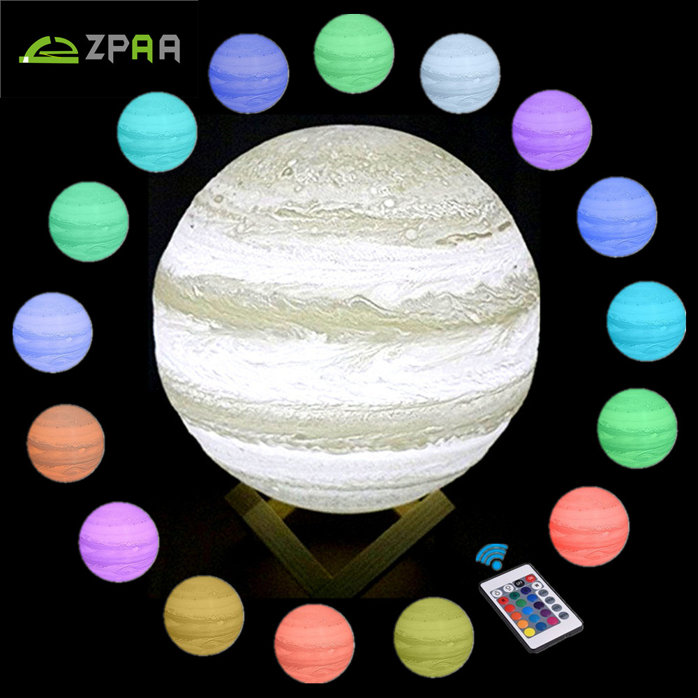 3D Light Print Jupiter Lamp Dimmable Colorful Touch Kids Nightlight Rechargeable USB Led Night Light Home Decor Creative Gift