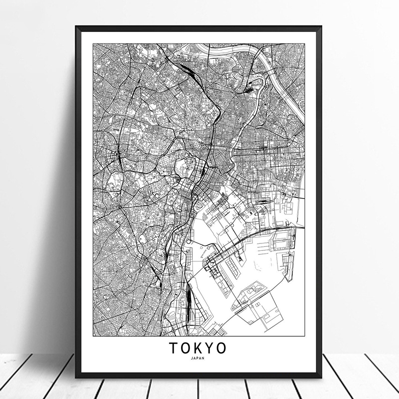 US $9.58 20% OFF Tokyo Black White Custom World City Map Posters Prints  Nordic Style Wall Art Pictures Home Decor Canvas Painting-in Painting & ...