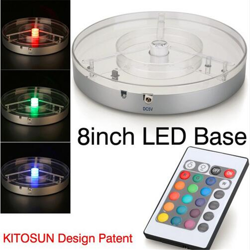 Wedding Light 8inch Spot LED Centerpiece Light Battery Operated RGBW LED Under Vase Light kitosun patent design rechargeable battery operated rgb led centerpiece light base for wedding reception floral vase decoration