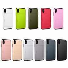 For iPhone 6 6S 7 8 9 X 6 Plus 7 Plus 8 Plus New Luxury Slim Slide Card Pocket Shockproof Hybrid Rubber Hard Case Cover (SGP-03) цена