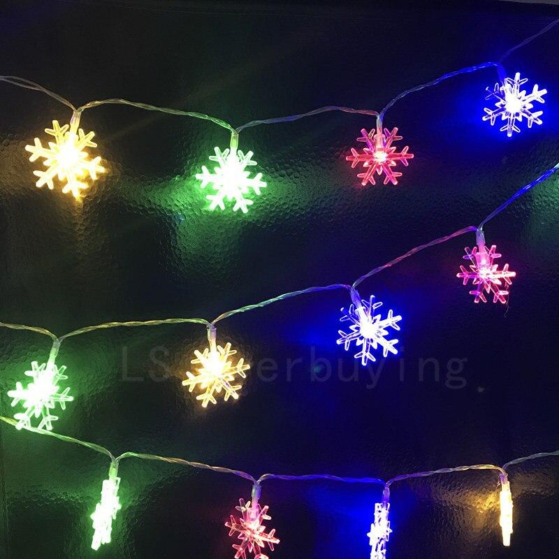 √Multicolor 2 M 20led pilas Tiras de luces de LED luz copo de nieve ...