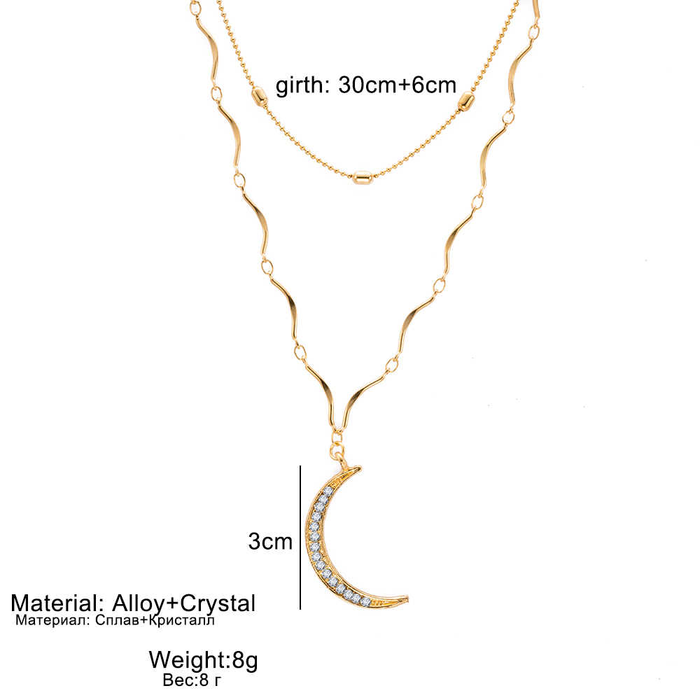 FAMSHIN najnowszy moda biżuteria bohema naszyjnik klasyczny złoty kolor podwójna warstwa kryształowy księżyc naszyjnik biżuteria biżuteria