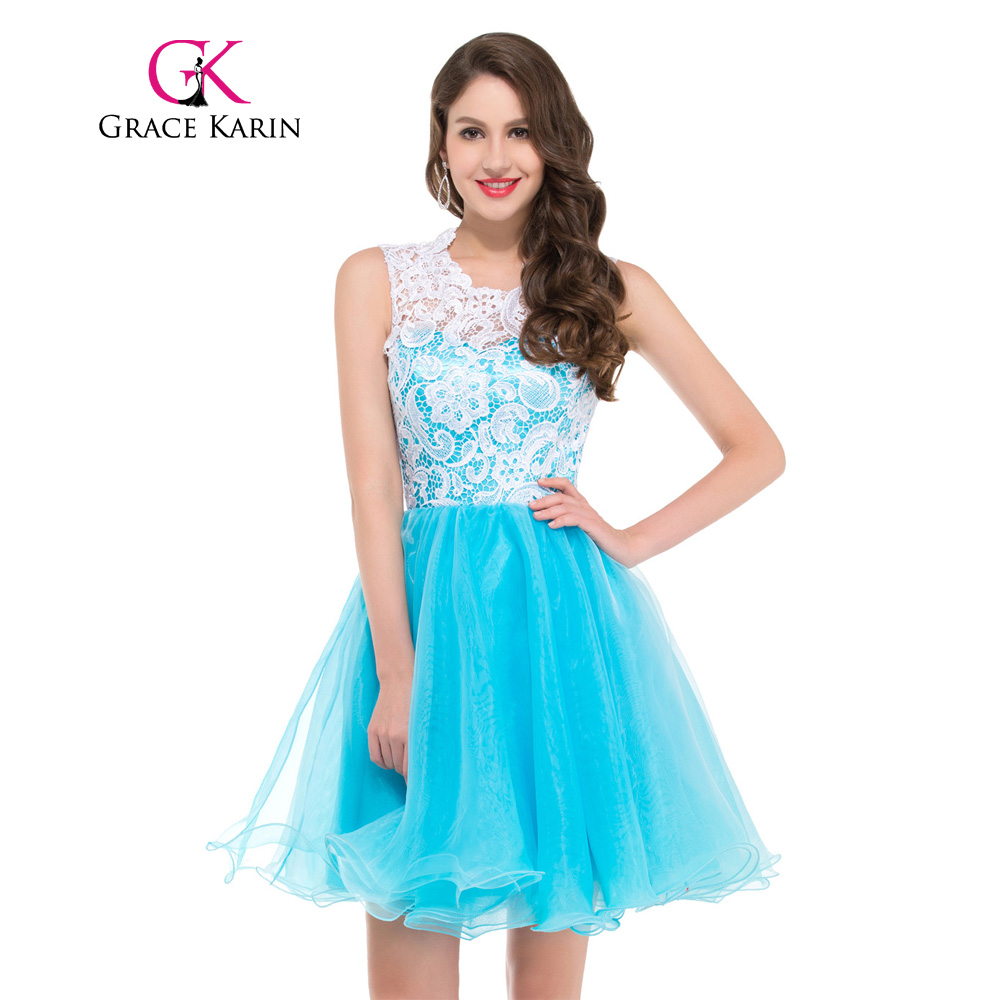 Grace Karin Short Prom Dress 2018 Sleeveless Ball Gown Lace Mini ...