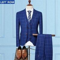 Горячие Для мужчин S Костюмы куртка + Для мужчин Брюки для девочек + костюм жилет Новая мода Бизнес Повседневное мужской пальто с длинными ру