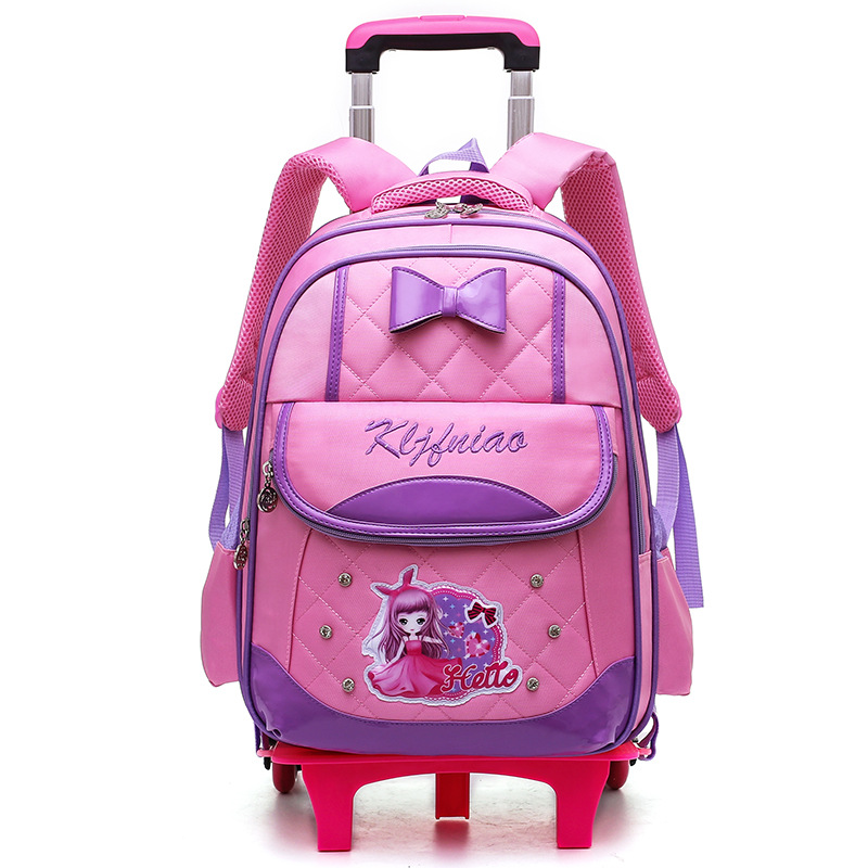 Children Removable School Bags Child Wheels Trolley Backpack Kids Wheeled Bookbag two wheels rose red