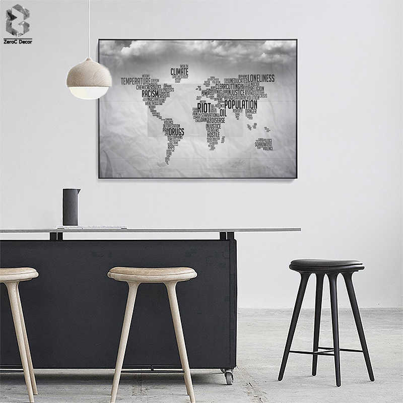 Modern Art Black and White World Map Letter Canvas Painting Wall Art Posters and Prints Wall Picture Home Office Decor