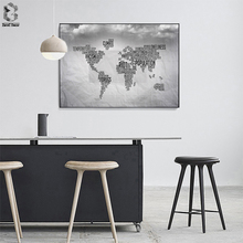 Modern Art Black and White World Map Letter Canvas Painting Wall Posters Prints Picture Home Office Decor